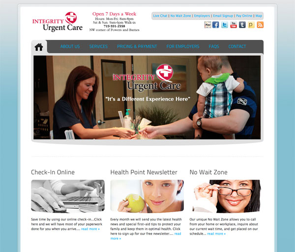 integrity urgent care screenshot Integrity Urgent Care WordPress Website Design in Colorado Springs