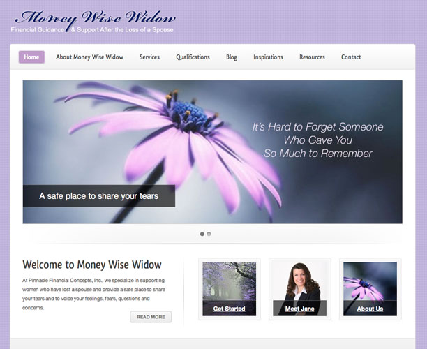 moneywise screenshot Money Wise Widow WordPress website design in Colorado Springs