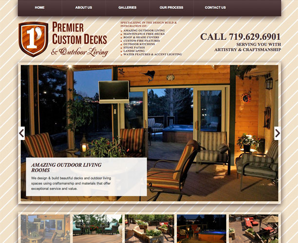 premiercustomdecks screenshot Custom Decks WordPress Website Design in Colorado Springs