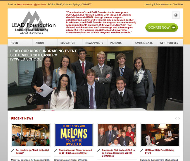 lead screenshot Website Design for the LEAD Foundation in Colorado Springs