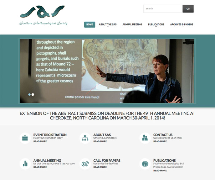 sas screenshot WordPress Website Design for Southern Anthropological Society